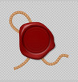 wax stamp realistic red seal with rope vector image vector image