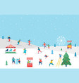 winter sport scene greeting card vector image vector image