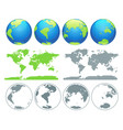 world globes and world map vector image vector image