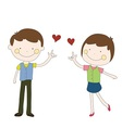 boy and girl sent red heart hand drawn vector image