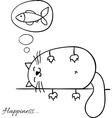 Funny cartoon sketch cat background vector image