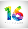 16 anniversary colorful facet logo vector image vector image
