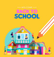 back to school card kids making book house vector image vector image