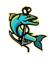 barracuda and anchor mascot vector image vector image