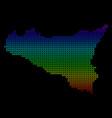 Bright sicilia map vector image
