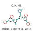 C4H7NO4 aspartic acid amino acid molecule vector image vector image