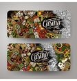 Cartoon doodles casino banners vector image
