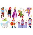 cartoon fairy tale dragon pirate princess vector image