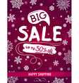 Christmas banner with snowflakes and sale offer vector image vector image