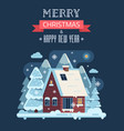 christmas card with mountain winter house by night vector image