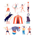 circus actors clown and magician juggler and vector image