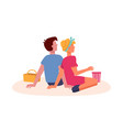 couple sit on picnic dating watching from back vector image