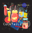 delicious sweet colorful colorful cocktails vector image