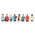 doctors in mask nurses and physicians standing vector image vector image
