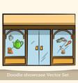 doodle showcase tea shop set vector image vector image