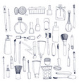fashion cosmetics set with make up artist objects vector image