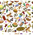 Fast food seamless design line art vector image