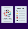 flat cinema icons card or flyer template vector image vector image
