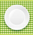 green checkered cloth and white plate vector image