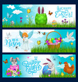 happy easter holiday bunnies eggs and doves vector image vector image