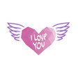 heart with wings valentines day banner placard vector image