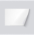 horizontal white sheet paper on transparent vector image vector image