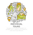 invividual tours hand draw cartoon icon vector image vector image