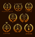 lawyer golden emblem set with scale of justice vector image vector image