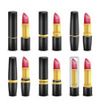 lipstick set black and golden tubes vector image