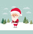 little santa claus character in snowscape vector image vector image
