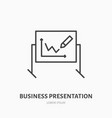 marker board with chart flat line icon business vector image vector image