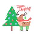 merry christmas reindeer on vector image vector image