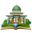 open book with happy muslim family greeting in fro vector image vector image