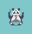 panda eating noodles with chopsticks vector image