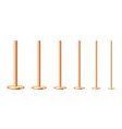 realistic metal poles collection isolated on white vector image