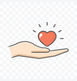 red heart in hand icon isolated on transparent vector image vector image