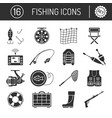 set of fishing icons in silhouette flat style vector image