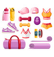 set sports accessories and clothes women vector image vector image