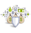 shield over 3 money bags financial security vector image