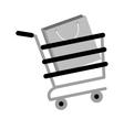 shopping cart online papper bag gift gray color vector image