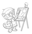 sketch a kitten character who in a biret and vector image vector image