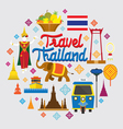 Thailand Landmark Objects Icons Label vector image