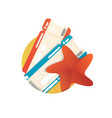 vacation icon with two tickets and starfish vector image vector image