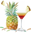 Watercolor Pineapple and Cosmopolitan glass vector image vector image