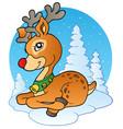 young christmas reindeer outdoor 1 vector image vector image