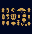 asian symbols silhouettes chinese golden paper vector image