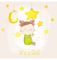 Baby Girl Sleeping on a Star - Baby Shower vector image vector image