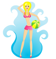 beach girl vector image