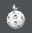 biker astronaut rides around moon vector image vector image
