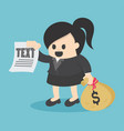 business woman holding carrying heavy bag money vector image
